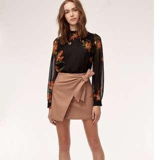 Aritzia Wilfred Dorine Knotted Beige Tan Mini Skirt - Size XXS, 00