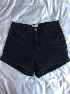 Black denim high waisted shorts