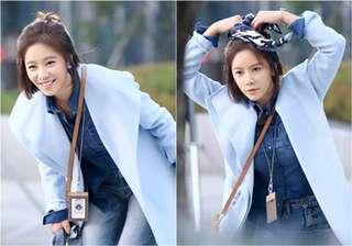 正韓KOREA韓劇她很漂亮黃靜茵同款天藍色長版毛呢大衣外套