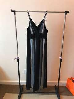 Full length black and grey dress