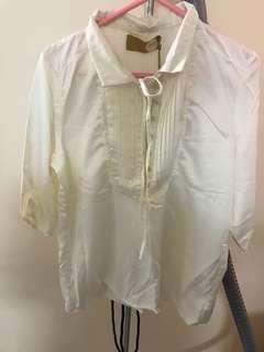 100% new white classic style silk blouse 全新古典風絲質襯衫