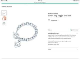 Authentic Tiffany and co heart tag toggle braclet