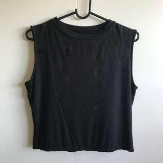 Cotton On Ribbed Black Sleeveless Top (Size M)