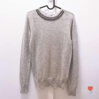 🚚 NET 羊毛針織毛線鑽飾上衣 M號