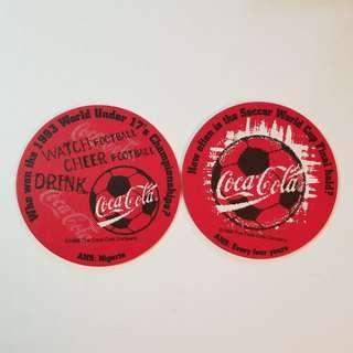 可口可樂 足球紙杯墊 1998年