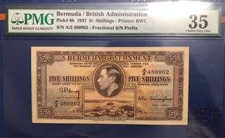 🚚 1937 Bermuda 5 Shillings George VI