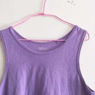 🚚 (三件一百)Lativ 150公分童紫色背心 purple vest for kid 150cm (3 items$100)