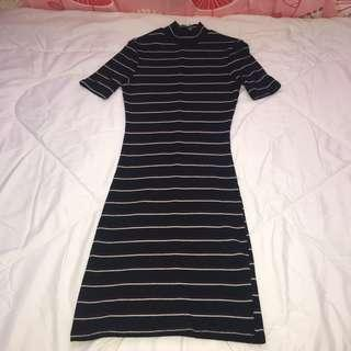 Cotton On Highneck Bodycon Striped Dress