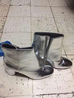 F21 Silver low cut boots