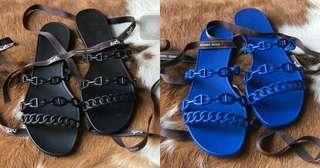 Ready Hermes Rivage H Jelly Sandals Black & Blue
