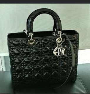 🚚 Authentic Lady Dior Large Patent Bag