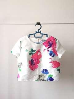 Brand New Floral Boxy Crop Top