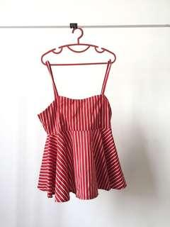Brand New Red Striped Top