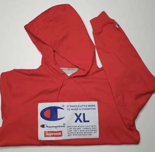 the latest d76b7 9b457 Red Supreme x Champion Hoodie