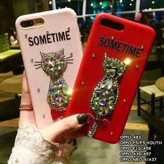 Fashion crystal diamond bow cat case casing