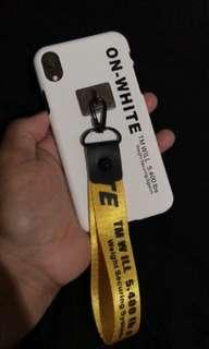 On White Off white Case with Hand Strap Case iPhone XR