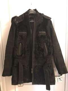 Black suede leather and fur jacket (new)