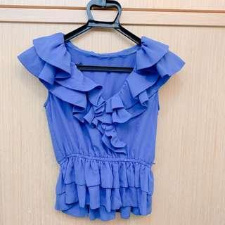 🚚 topshop藍波浪上衣
