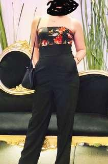Black with Floral pattern Jumpsuit, can be worn on a formal event, used once on a wedding