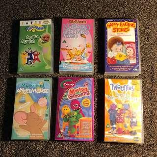 Nursery baby teletubbies barney cartoons vhs video tape