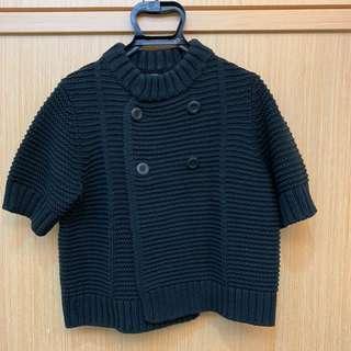 🚚 uniqlo黑色短袖粗針織外套
