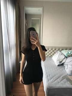 Black knitted short dress