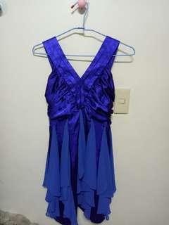 🚚 寶藍色緞面洋裝