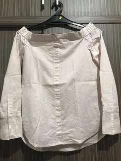 Stradivarius Striped off the Shoulder Shirt