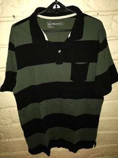 Moss Green striped Polo shirt