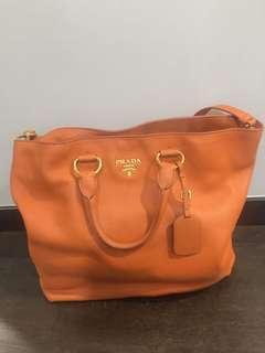 Prada Leather Orange Tote Bag