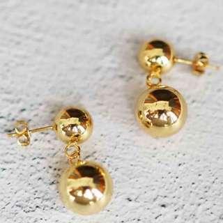 極簡氣質金屬黃銅圓球波波Celine風耳環 Earrings