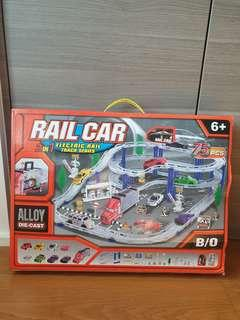 Likr brand new in box 2 in 1 electric rail track racing alloy die cast track 75 pcs