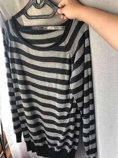 [PRELOVED - F] Black Stripes Sweater
