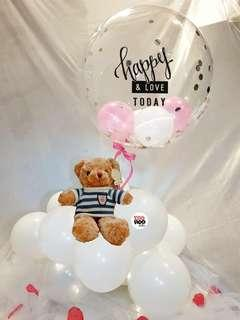 """Happy Love Striped Top Teddy Bear 18"""" Clear Balloon Cloud 9 Valentine's Day Gift"""