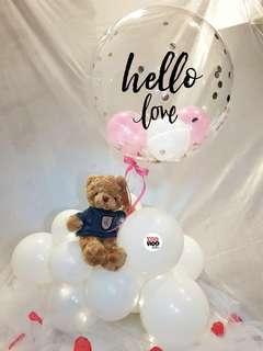 "Hello Love Blue Top Teddy Bear 18"" Clear Balloon Cloud 9 Valentine's Day Gift"