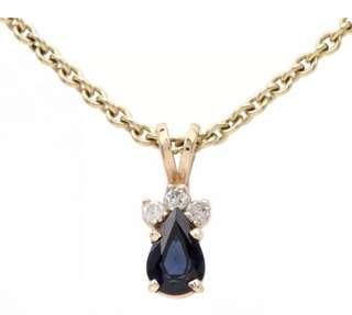 Beautiful Estate Diamond Sapphire 14K Yellow Gold Small Pendant