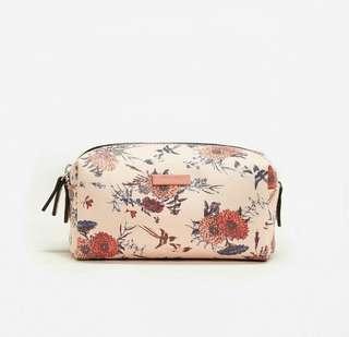Mango Floral Saffiano-effect Cosmetic Bag