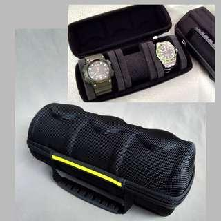 New: Triple Watch Carry/Storage Case ( Black+Yellow Strip Colour )