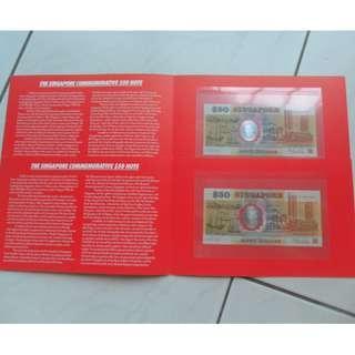 2X 1990 Singapore 25th Anniversary SG25 $50 Unc Commemorative Note
