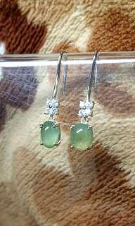🚚 Icy Jelly Myanmar Jade (Jadeite) Cabochon (Type A) on 925 Silver Earrings