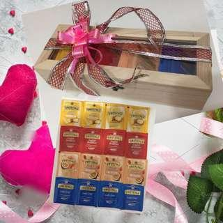 Valentines Gifts Ideas-Wooden Box Storage Organiser with Teabags