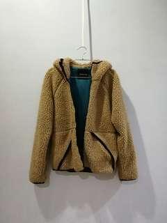 Fluffy furry winter brown sheep jacket hoodie