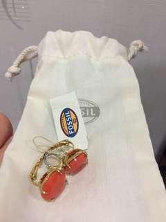 Fossil orange hoop earrings