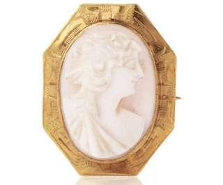 Vintage Cameo Shell 10K Yellow Gold Lady Pin
