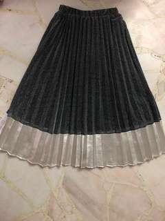 Glitter Pleated Midi Skirt