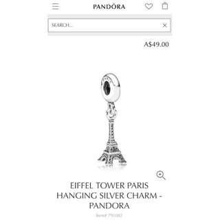 Pandora Paris Eiffel Tower Hanging Silver Charm