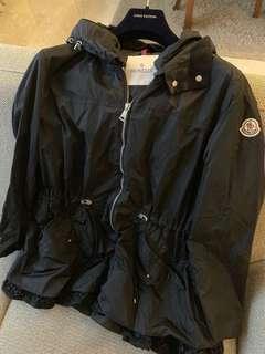 Moncler Black Lotus Water Resistant Peplum Raincoat Coat