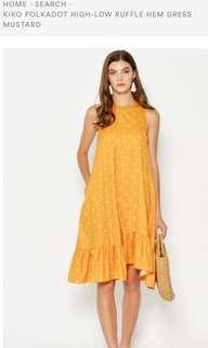 Love and bravery koko polkadot high low ruffle hem dress mustard