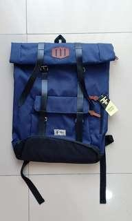 REPRICE!! Tas backpack canvas navy blue