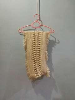 White Fur knitted scarf snood